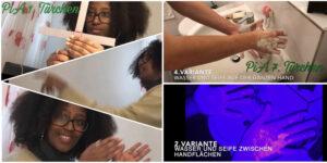 Zwei Schülerinnen halten ihre Experimente zu Türchen 1 und 7 fotografisch fest